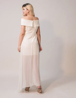 Elegant Cross Off Shoulder Maxi Dress