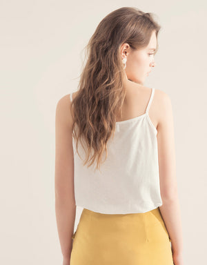 Thin Strap Sleeveless Button Up Top
