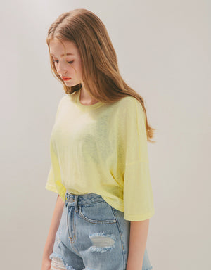 Minimalist Transparent Hollow Back 3/4 Sleeve Top