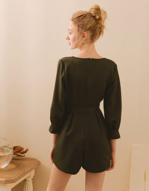 Minimalist Crossover V-Neck Long Sleeve Belted Playsuit