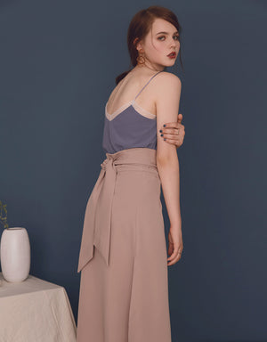 Elegant Bow Split Midi Skirt