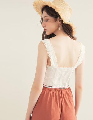 Button Through Lace Trim Sleeveless Crop Top
