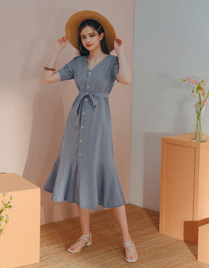 Button Down Linen Fishtail Ruffle Midi Dress