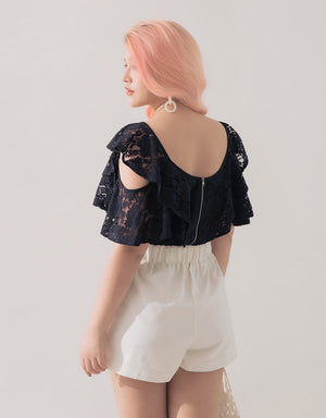 Asymmetrical straps Halter Lace Top