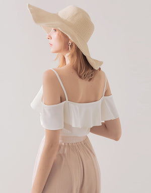 Cold Shoulder Wrapped Ruffle Top