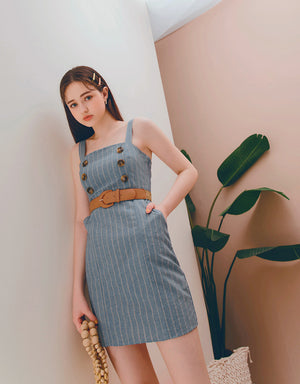 Thick Strap Striped Double Breasted Belted Dress