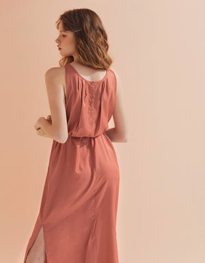Sleeveless Texture Button Ribbon Dress