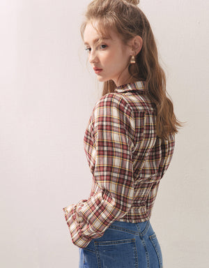 Checkered Turndown Collar Long Sleeve Top