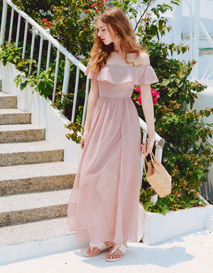 Ruffle Off Shoulder Slit Dress
