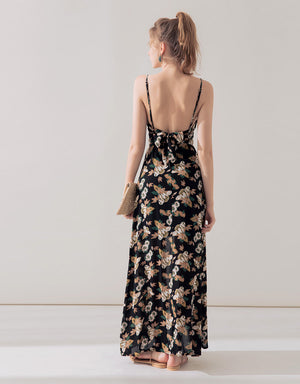 Floral Print Low Back Dress