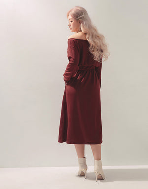Off Shoulder Button Up Slit Sweater Maxi Dress
