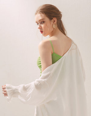 Shirred Front Thin Strap Knitted Camisole