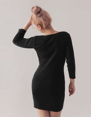 V-Neck Curvy Ribbed Long Sleeve Dress