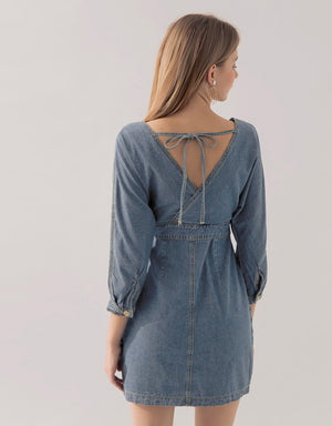 (PRE-ORDER ETA 5/6) Overlap Buttoned Denim Dress