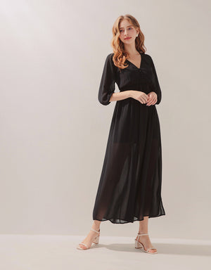 V-Neck Buttoned Side-Slit Chiffon Dress