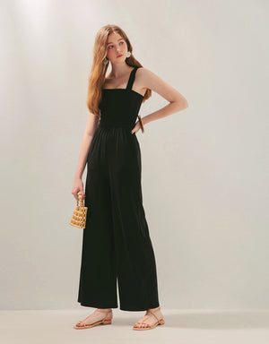Multiple Way Thick Strap Knitted Wide-Leg Jumpsuit