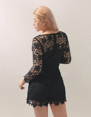 V-Neck Full Carved Lace 3/4 Sleeve Playsuit