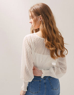 Swiss Dot Chiffon Cinched Waist Two-Piece Long Sleeve Top