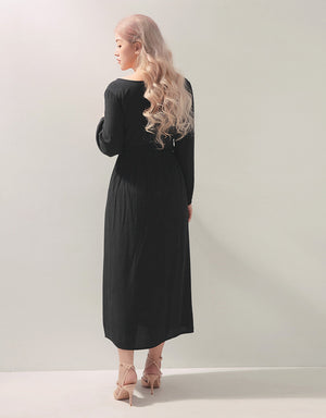 Romantic Detailed Waist Button-Up Maxi Slit Dress