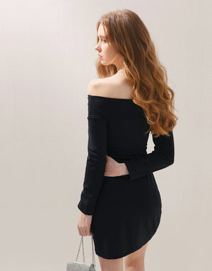 Twist Front Crossover Off Shoulder Bodycon Dress