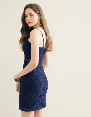 Fit Cut Lace Jacquard Eyelet Cami Dress