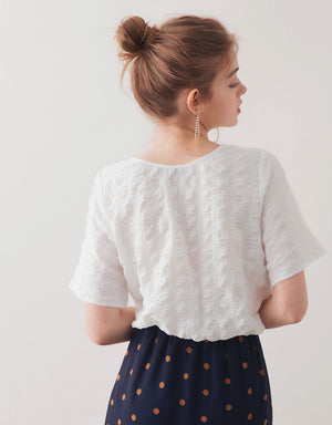 CLOQUE LINEN DRAWSTRING CROP TOP