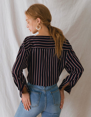 V-Neck Colors Striped Long Sleeve Blouse