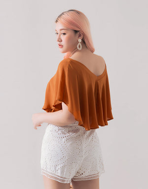Off Shoulder V Neck Chiffon Ruffle Top