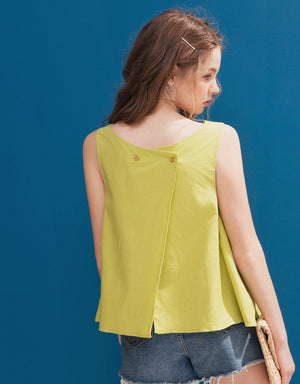 Cotton Linen Flare Top