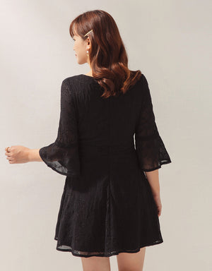Textured Embroidery Mesh Overlay Flare Dress