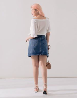 Denim Button Up A-Line Skirt
