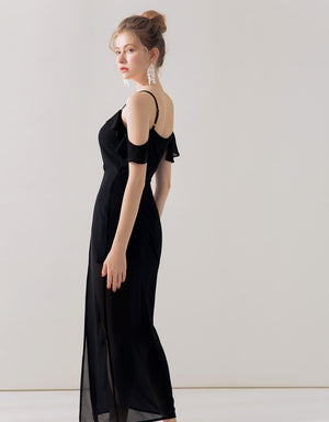 V-Neck Cold Shoulder Chiffon Maxi Dress