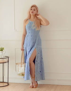 Eyelet Lace Halter Maxi Dress