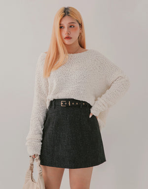 Slimming Woollen A-Line Belted Mini Skirt