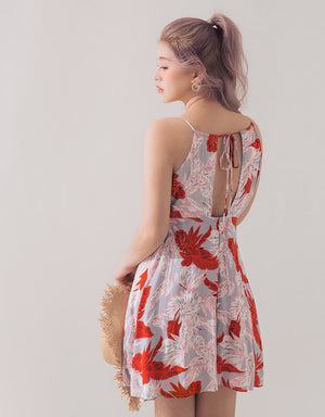 Tropical Print Back Tie Flare Dress