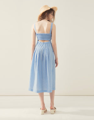 Button Through Shirred Back Linen Midi Dress