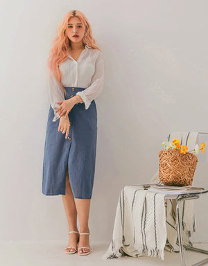 Button Down Pencil Front Slit Skirt