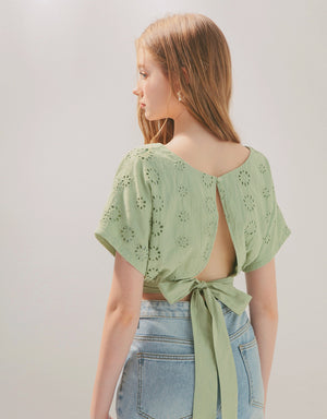 V-Neck Flower Eyelet Hollow Back Tie Crop Top