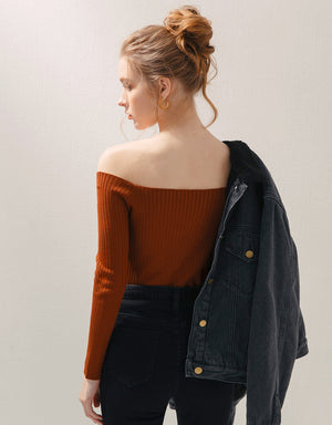 Square Neck Buttoned Long Sleeve Knitted Top