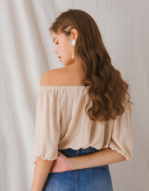 Off Shoulder Pleated Puff Sleeve Top
