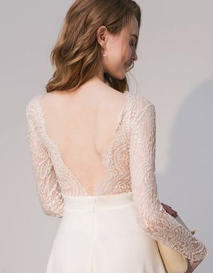 V Neck Eyelash Lace Flare Dress with Open Back