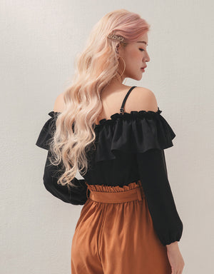Ruffle Sleeve Cold Shoulder 3/4 Sleeve Top