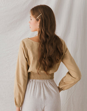 V-Neck Button Cinched Waist Top