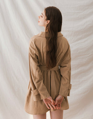 Industrial Style Button Turndown Collar Belted Jacket