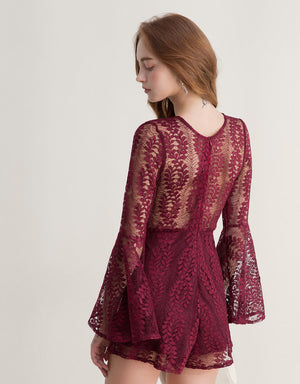 Lace Jacquard Trumpet Sleeve Playsuit