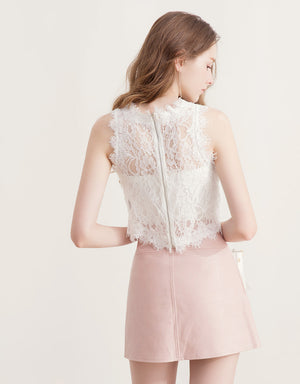 French Crochet Lace Sleeveless Top