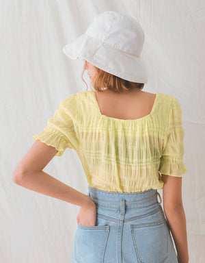 Square Neck Crumpled Peasant Sleeve Top