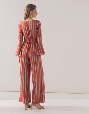 Striped Wrap Front Ribbon Long-Sleeve Jumpsuit
