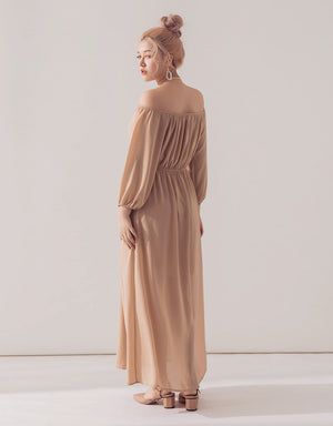 Romantic Neck Ring Cold Shoulder Slit Chiffon Maxi Dress