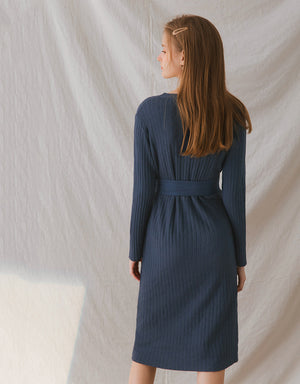V-Neck Fitted Button Up Knitted Midi Belted Dress